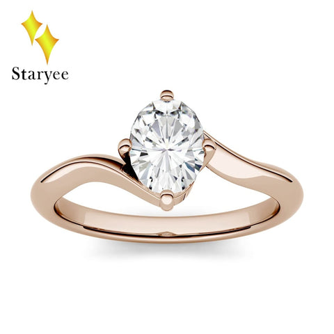 Solid Real 18k 750 Rose Gold 7*5mm 0.9ct Carat Simple DEF Color Oval Cut Engagement Wedding Moissanite Diamond Ring For Women