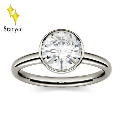 STARYEE 1.0 ct 6.5mm Lab Grown Moissanite Genuine Platinum PT950 Excell Cut Diamond Engagement Ring Fine Jewelry For Women
