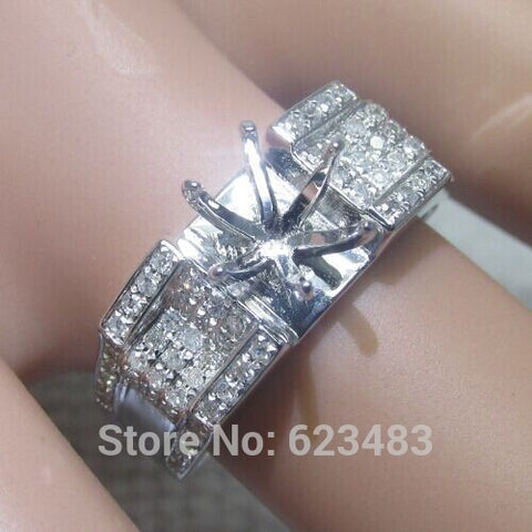 Solid14k white gold natural diamond pave semi mount engagement wedding ring