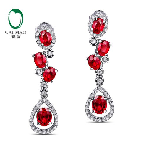 18KT White Gold 2.69ct Natural Red Ruby 0.39ct Round Cut Diamond Earrings - GoldBunny GemMine