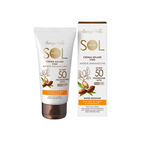 SOL Argan – Sun Cream for Face - Anti-aging & Anti-Blemish - With Argan Oil And Vitamin E - SPF50 High Protection (50 ml)