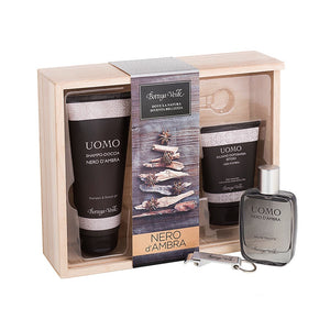 Men's Gift Set - Black Amber Wooden Box