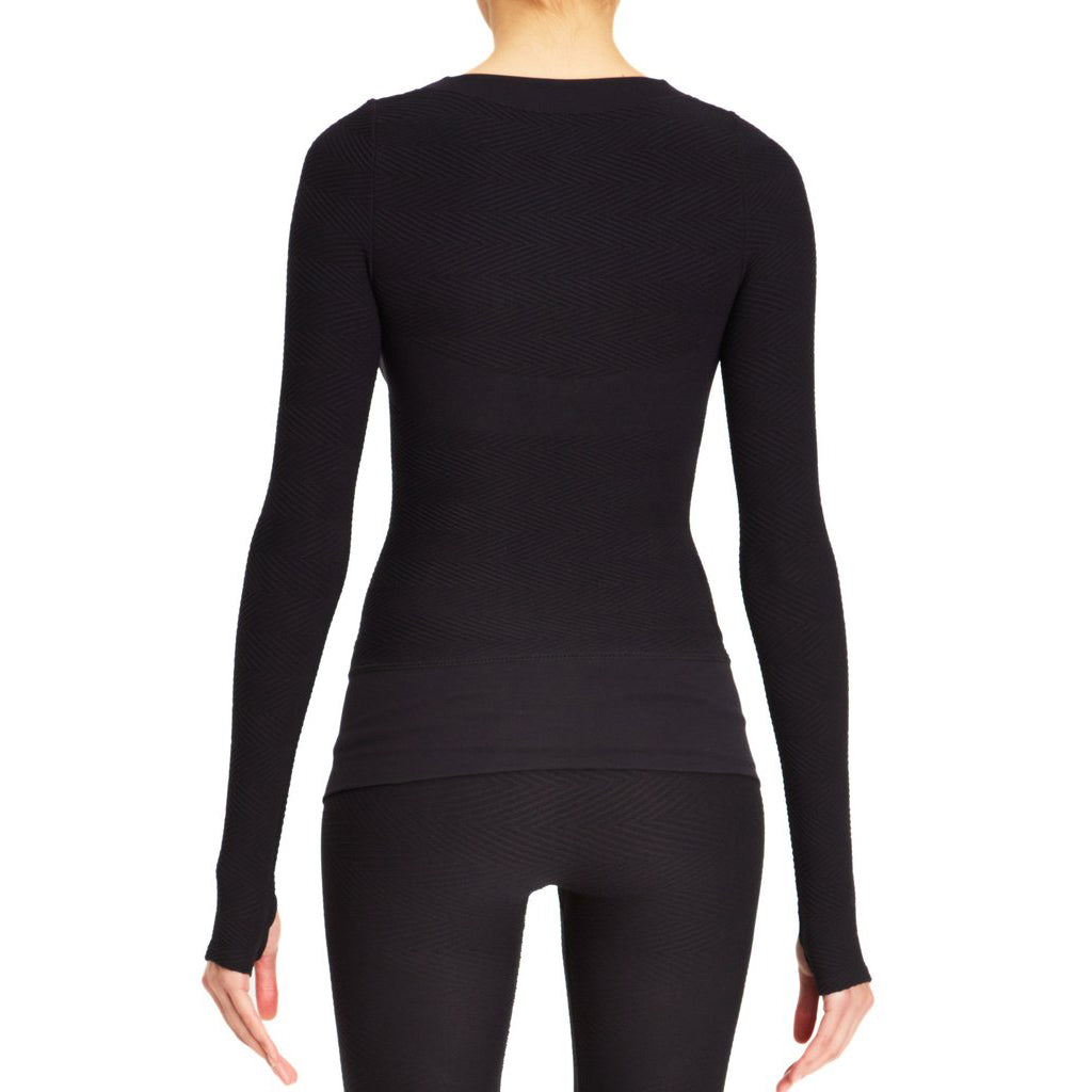 Herringbone Seamless Long Sleeve Top- High Compression