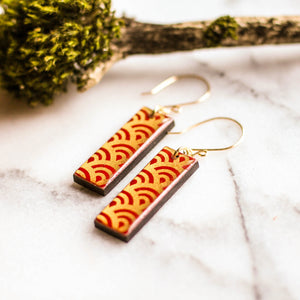 Red and Gold Wave Japanese Paper and Wood Earrings - No Man's Land Artifacts