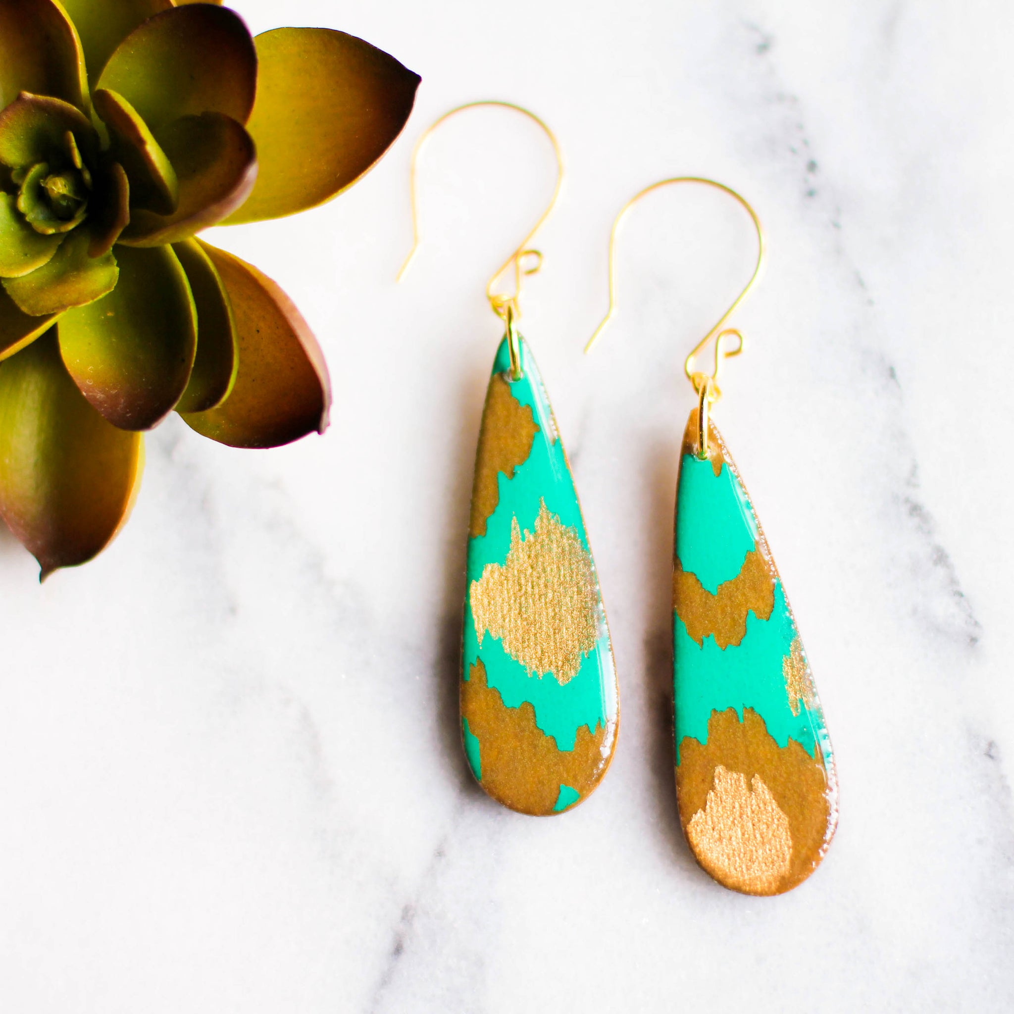 Teardrop Teal and Gold Indian Paper Earrings - No Man's Land Artifacts