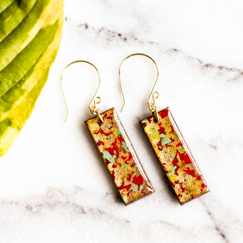 Red and Gold Flake Japanese Paper Earrings - No Man's Land Artifacts