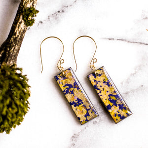 Violet and Gold Flake Japanese Paper Earrings