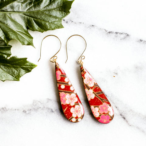 Teardrop Red Cherry Blossom Japanese Paper Earrings - No Man's Land Artifacts