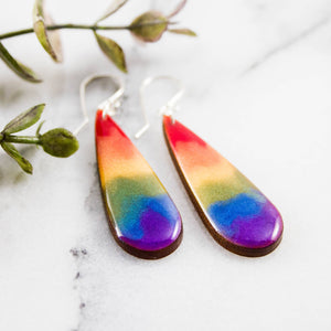 Rainbow Watercolor Drop Earrings