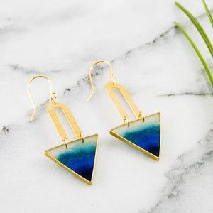 Lagoon Triangle Brass Earrings