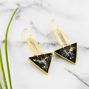 Galaxy Brass Triangle Earrings