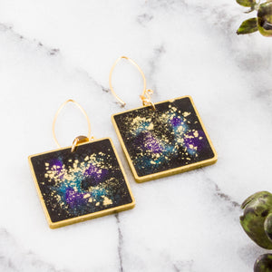 Andromeda Galaxy Square Brass Earrings
