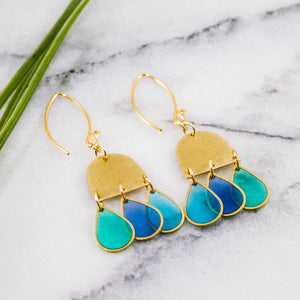 Spring Rain Brass Droplet Earrings