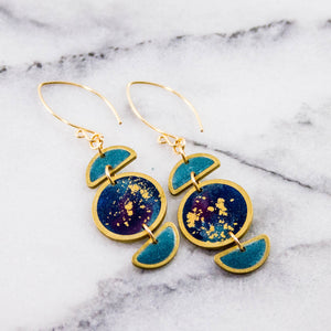 Stacked Moon Galaxy Brass Earrings