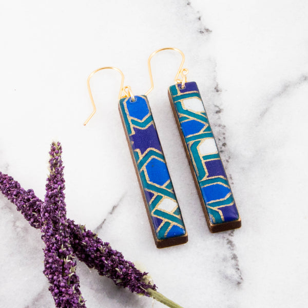 Navy + Aqua Mosaic Bar Earrings