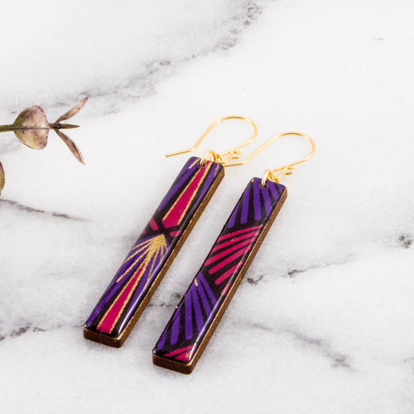 Purple + Gold Deco Bar Earrings