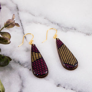 Teardrop Purple + Gold Mod Dot Earrings