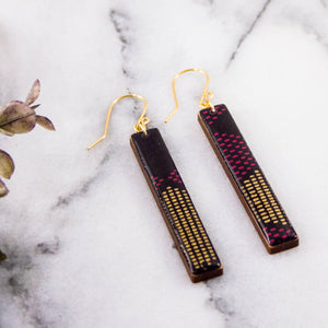 Purple + Gold Mod Dot Bar Earrings
