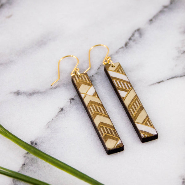Natural Chevron Bar Earrings