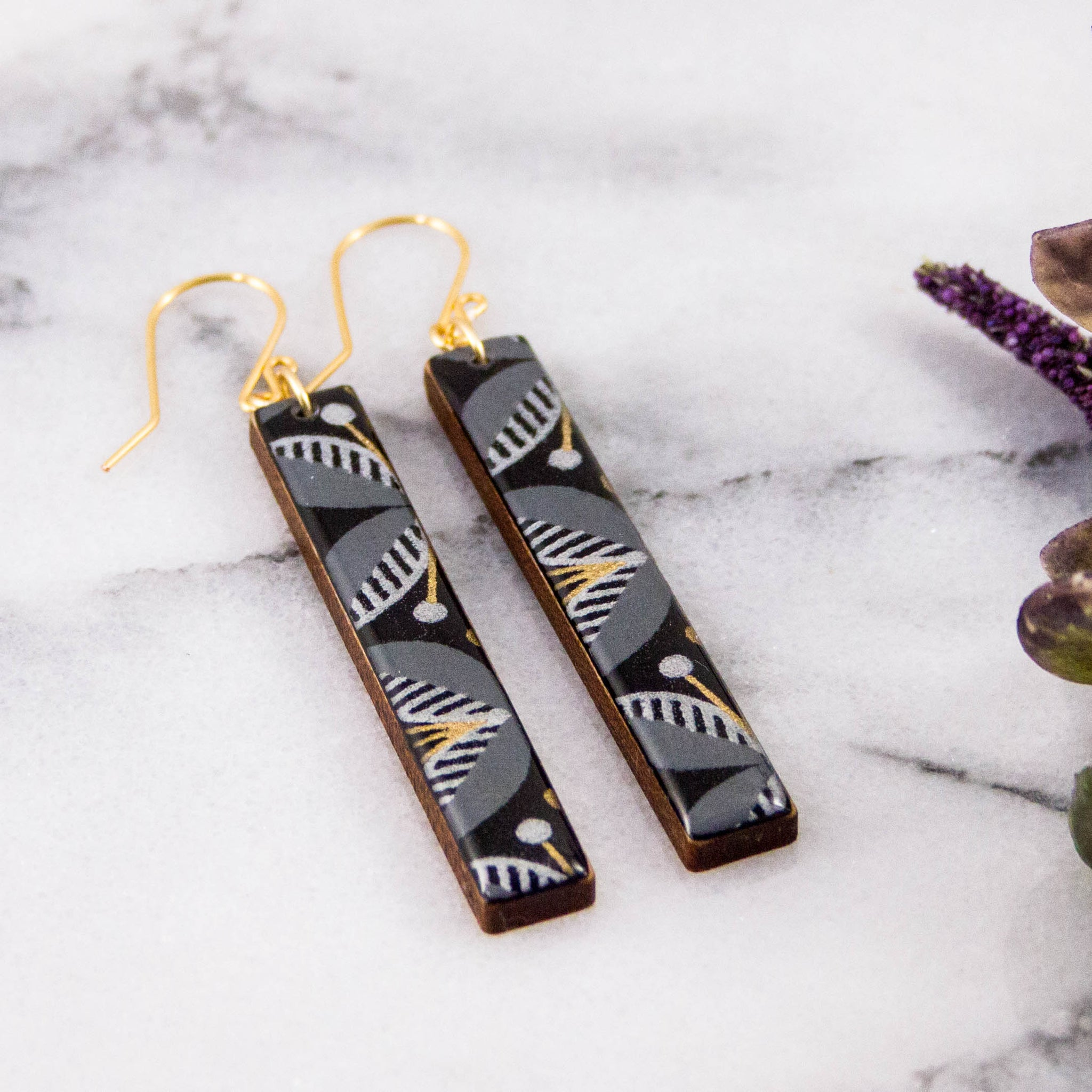 Black + Gold Mod Floral Bar Earrings