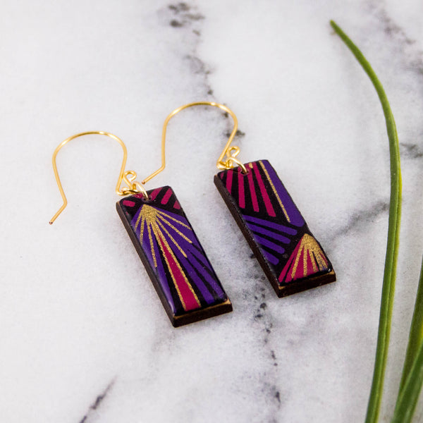 Purple + Gold Deco Rectangle Earrings