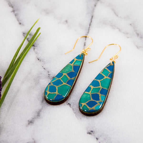 Teardrop Turquoise Mosaic Earrings