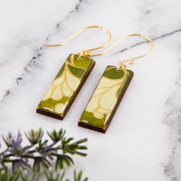 Green Nouveau Floral Rectangle Earrings
