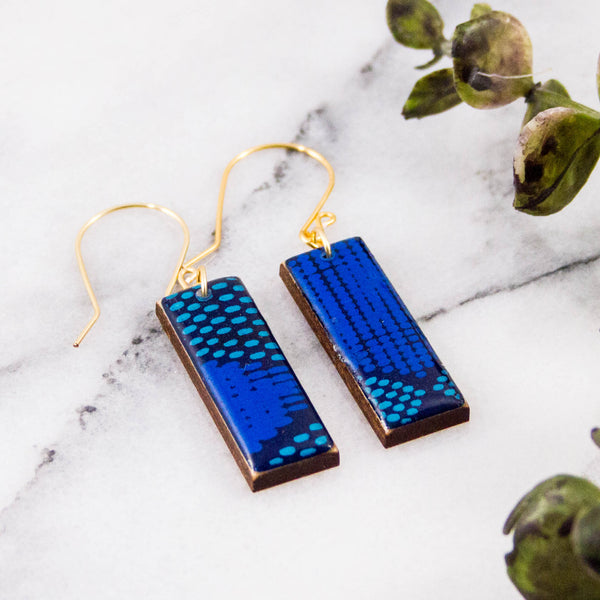 Blue Mod Dot Rectangle Earrings