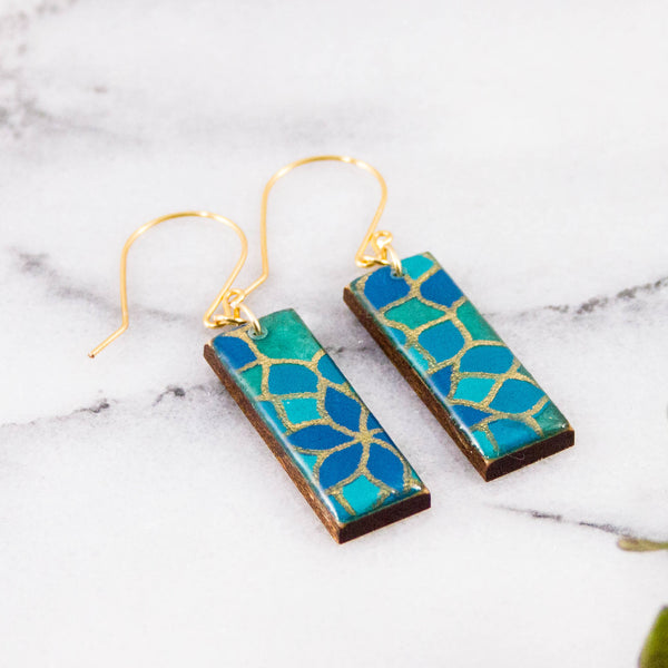 Turquoise Mosaic Rectangle Earrings