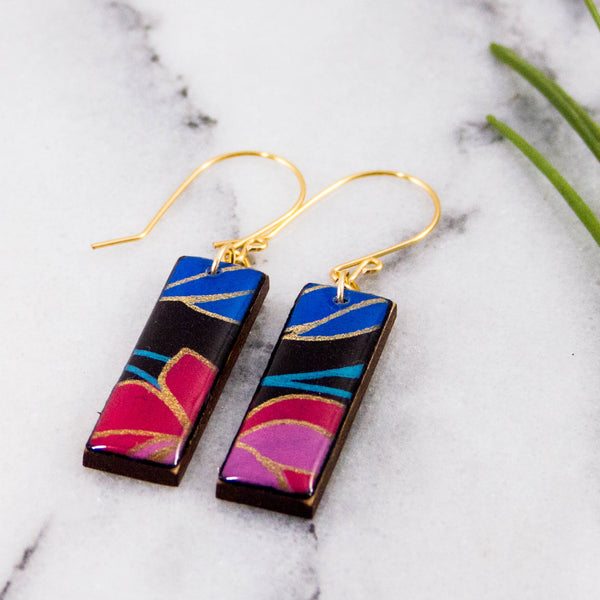 Black Nouveau Floral Rectangle Earrings