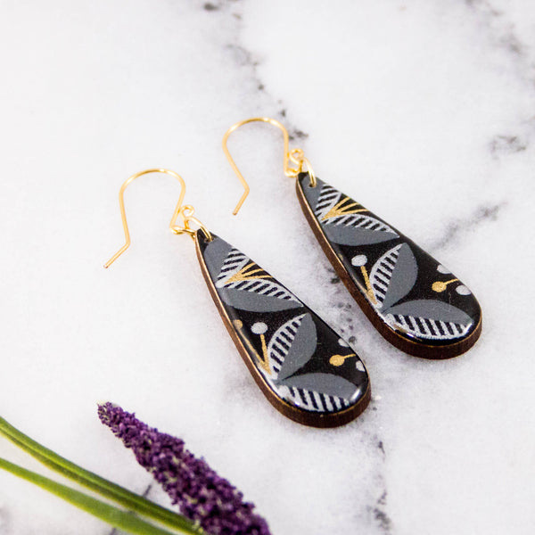 Teardrop Black + Gold Mod Floral Earrings