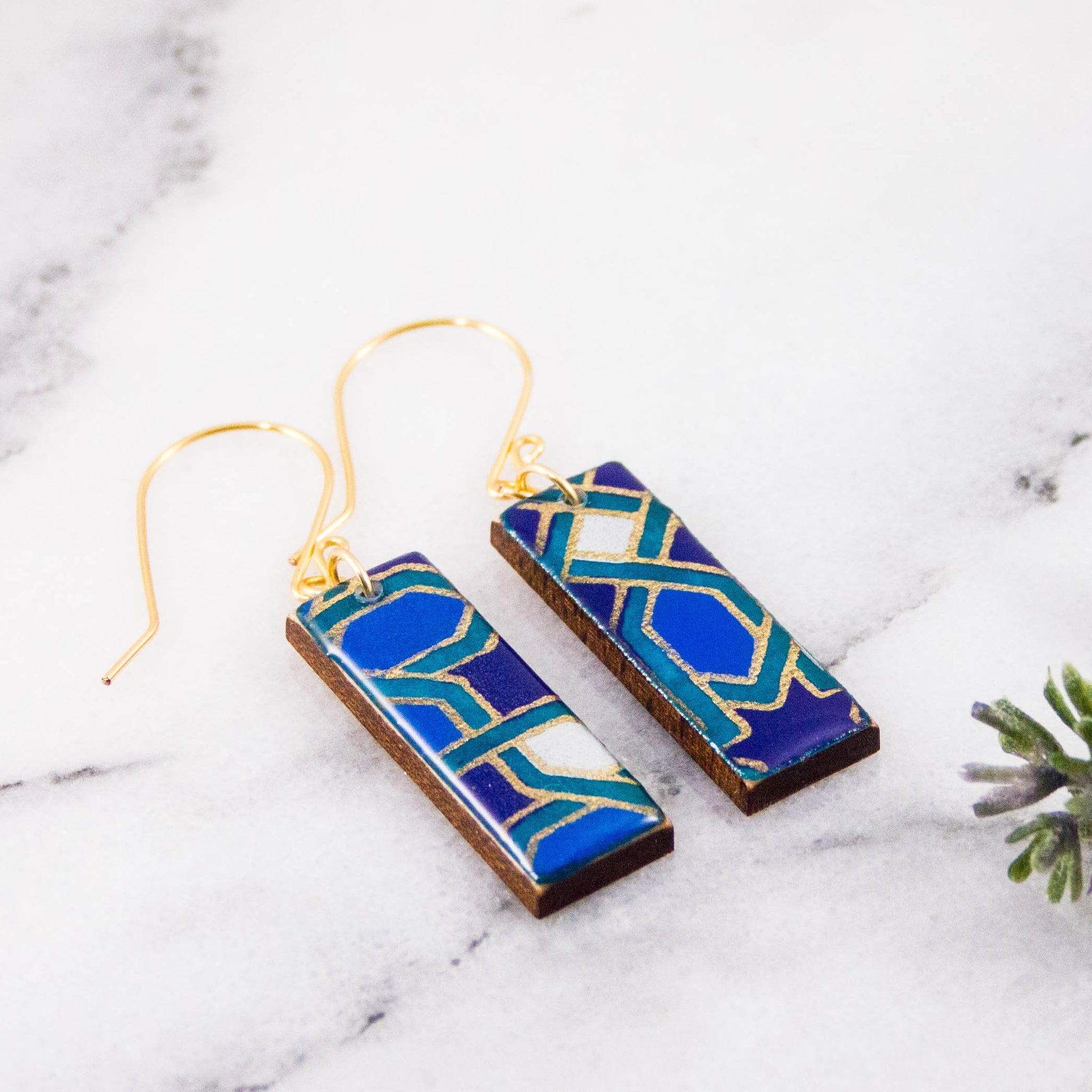 Navy + Aqua Mosaic Rectangle Earrings