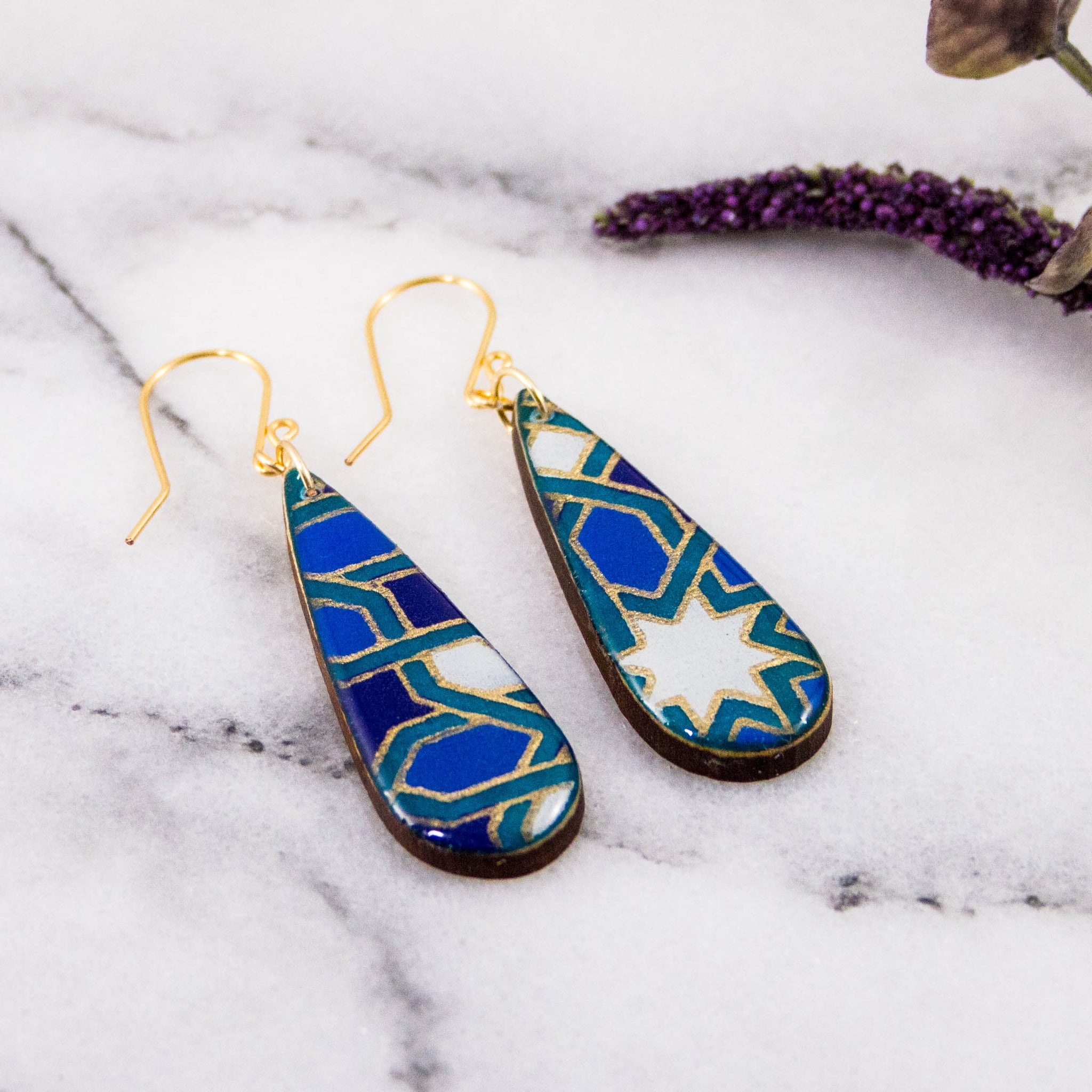 Teardrop Navy + Aqua Mosaic Earrings