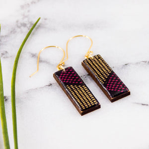 Purple + Gold Mod Dot Rectangle Earrings
