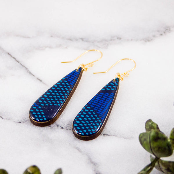 Teardrop Blue Mod Dot Earrings
