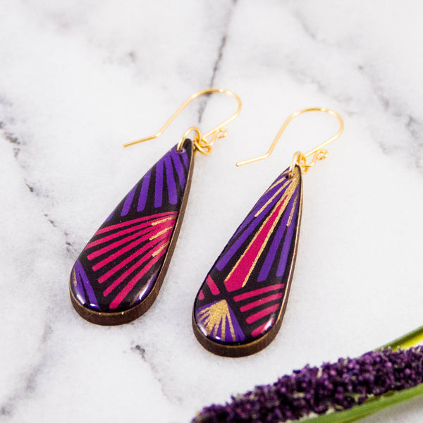Teardrop Purple + Gold Deco Earrings
