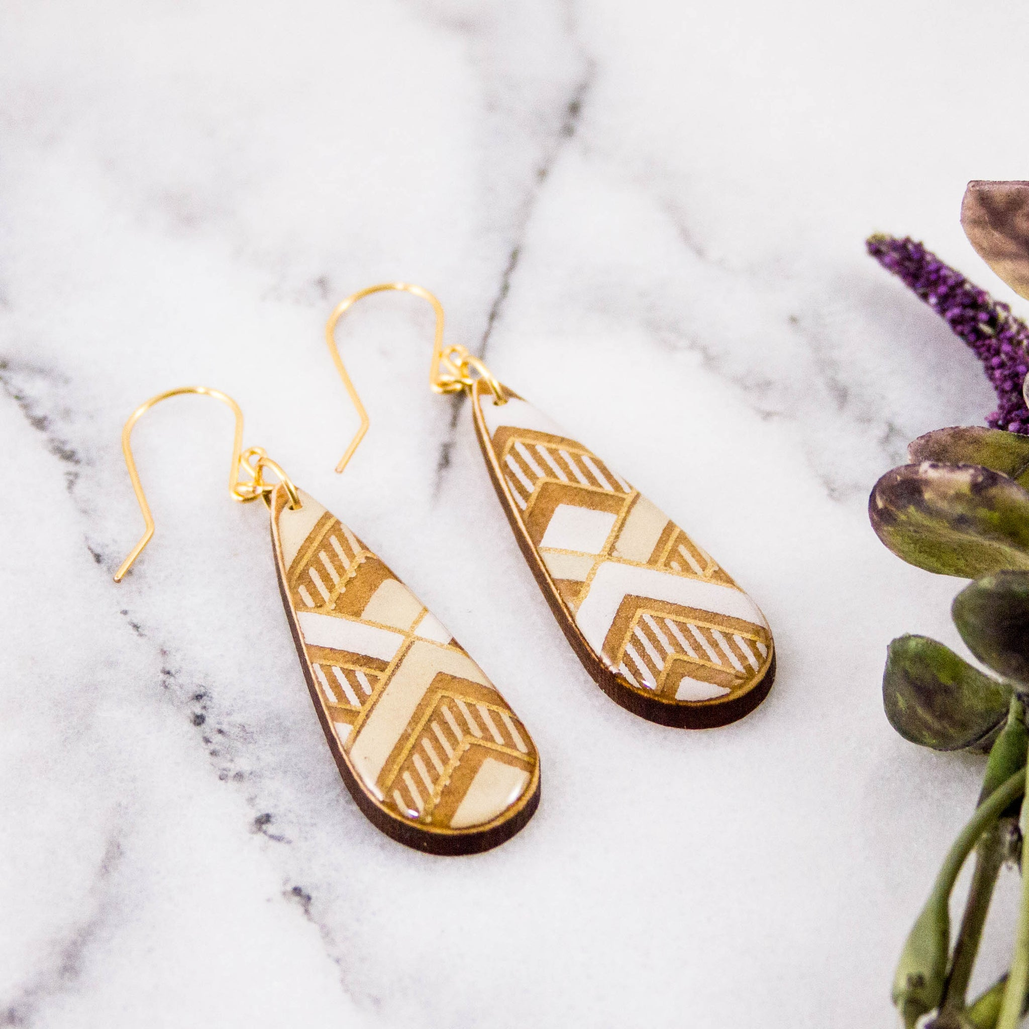Teardrop Natural Chevron Earrings