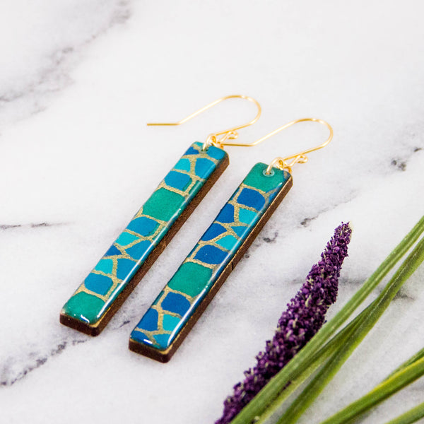 Turquoise Mosaic Bar Earrings