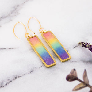 Petite Pastel Rainbow Rectangle Earrings