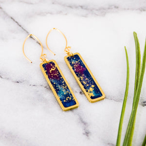 Petite Galaxy Rectangle Brass Earrings