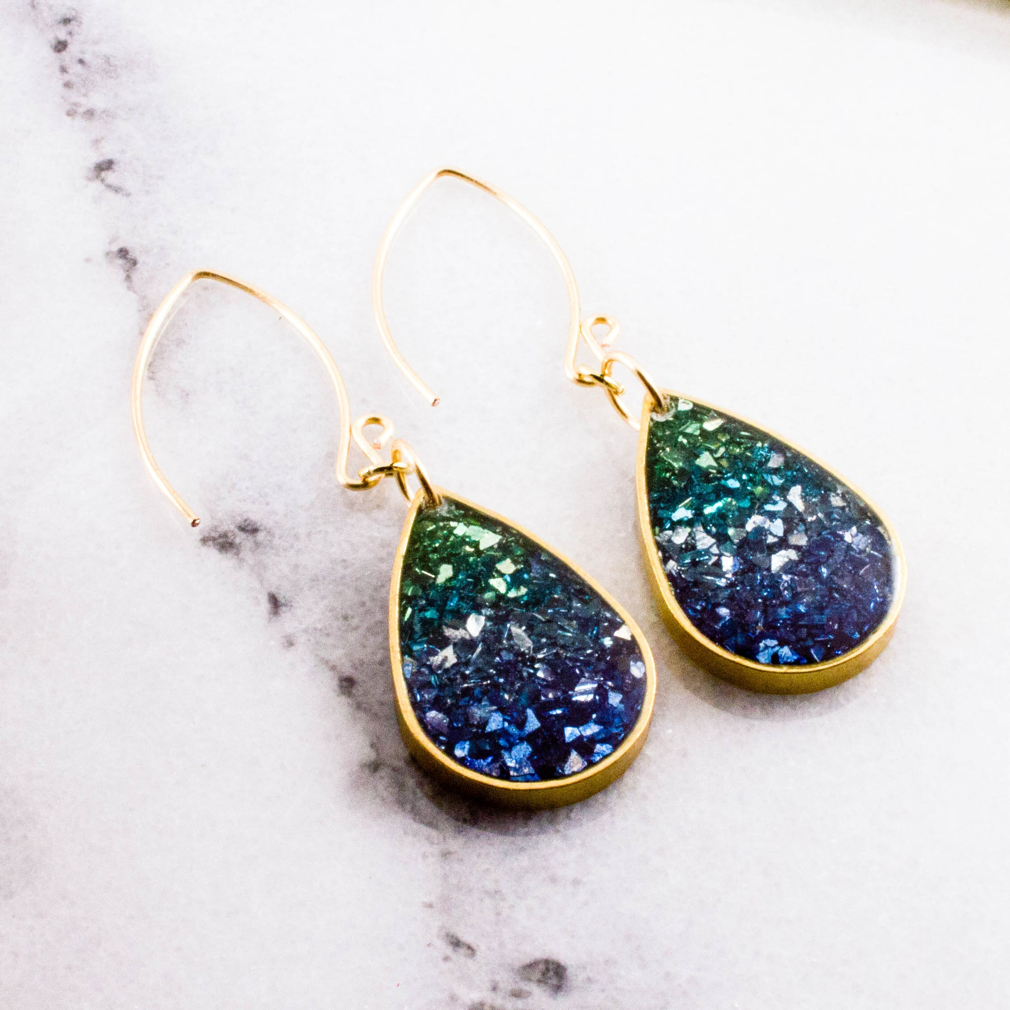 Blue + Green Glass Glitter Raindrop Earrings