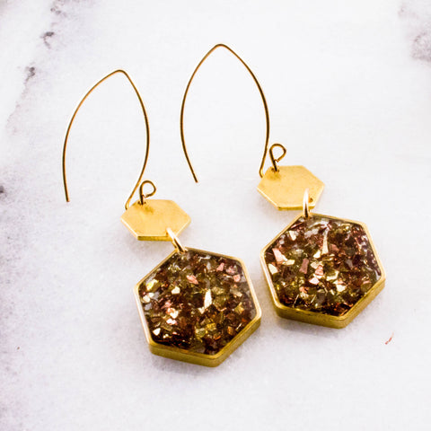 Gold + Copper Glass Glitter Honeycomb Brass Earrings