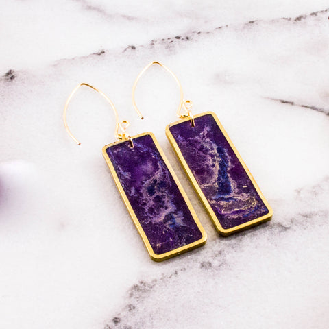 Violet Swirl Brass Rectangle Earrings