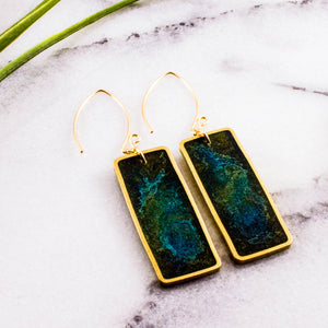 Green Swirl Brass Rectangle Earrings
