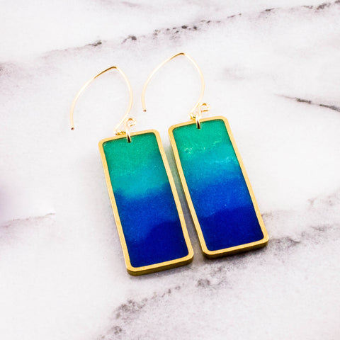 Aegean Brass Rectangle Earrings