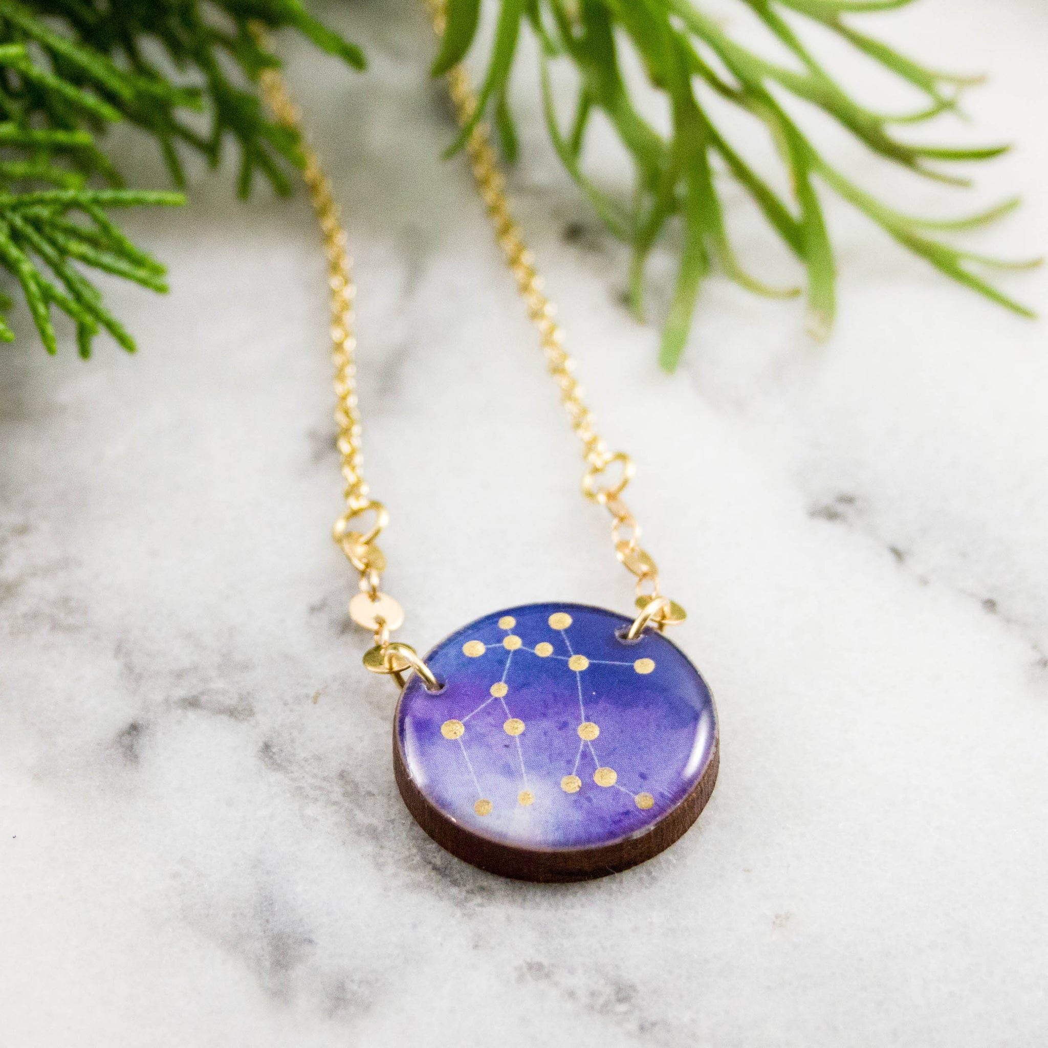 Gemini Handpainted Constellation Necklace