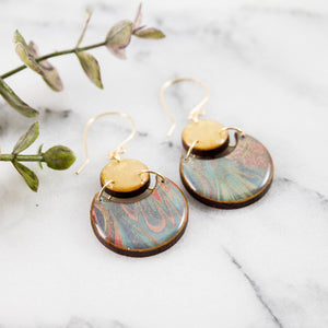Japanese Double Circle Earrings- Pastel Marble