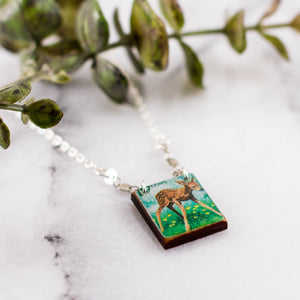 US- Vintage Postage Stamp Fawn Necklace