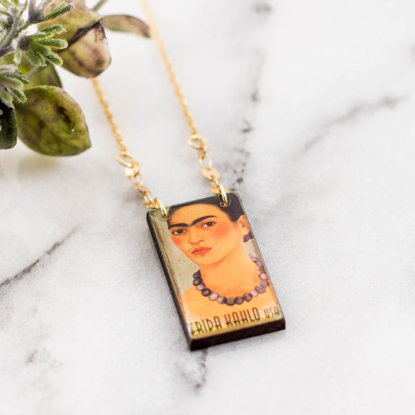 US- Frida Kahlo Postage Stamp Necklace