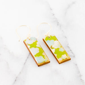 Green Floral Rectangle Earrings